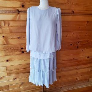 1980s Simon Sez Light Gray Dress